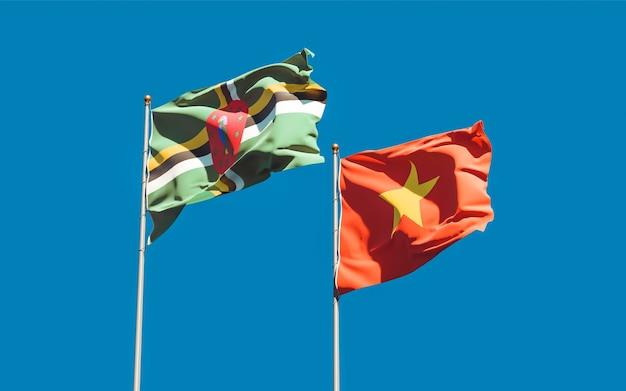 Flagi wietnamu i dominiki. grafika 3d