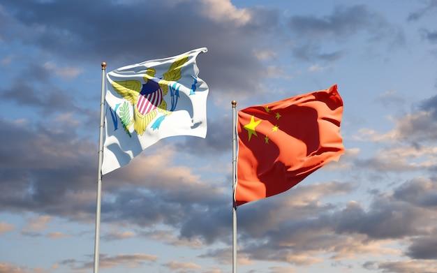 Flagi wysp dziewiczych stanów zjednoczonych i chin razem a