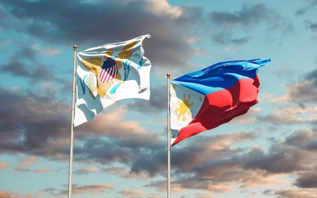Flagi wysp dziewiczych stanów zjednoczonych i filipin. grafika 3d