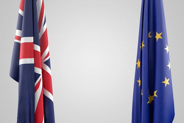 Flagi zjednoczonego królestwa i unii europejskiej