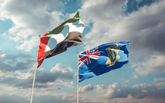 Flagi zjednoczonych emiratów arabskich i brytyjskich wysp dziewiczych. grafika 3d