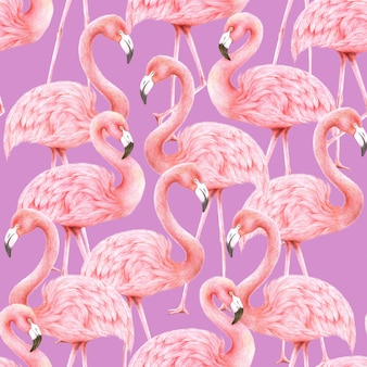Flamingi wzór na fioletowym tle