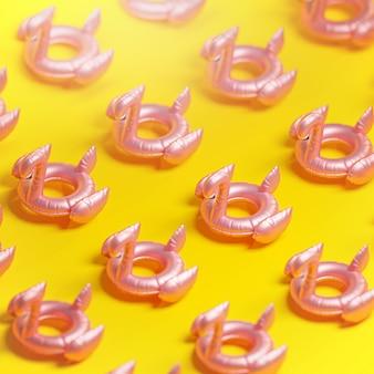 Flamingo floar patern żółte lato tło renderowania 3d .
