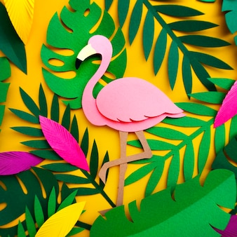 Flamingo nature papercraft leaves plants