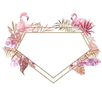 Flamingo tropikalnych liści akwarela ramki.