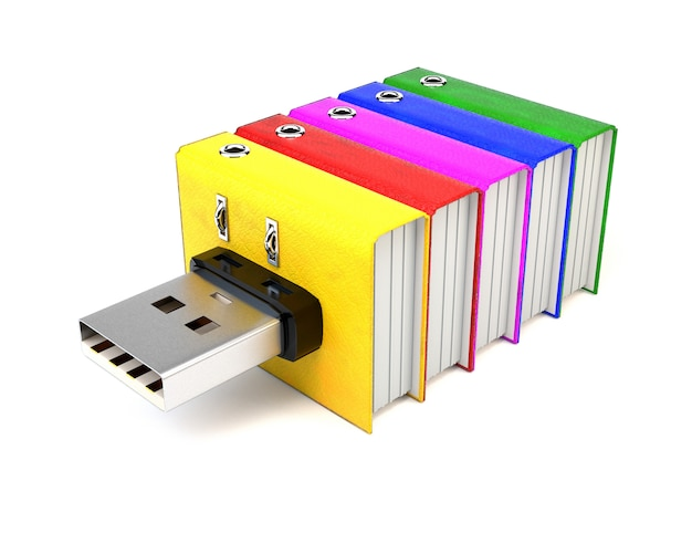 Flash drive z folderami, na białym tle.
