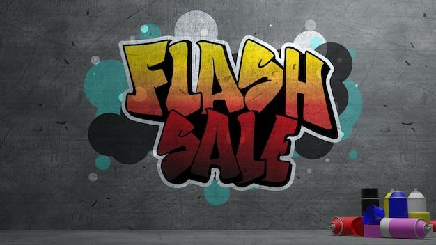 Flash sprzedaż graffiti na betonowej ścianie tekstury kamienny mur w tle. renderowanie 3d