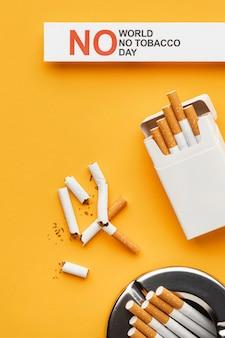 Flat lay no tobacco day elementów układu