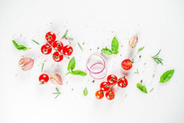 Flatlay z zielenią, ziołami i przyprawami