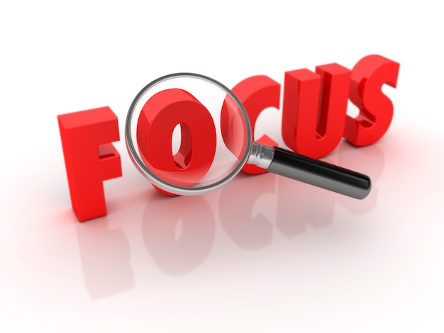 Focus word with magnifiying glass