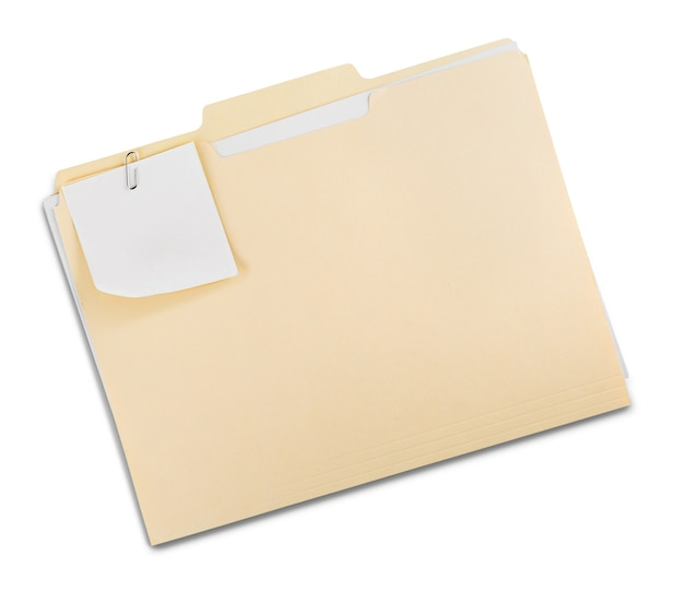 Folder plików z dokumentami i notatką