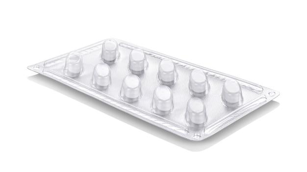 Folia aluminiowa z plastikowym blistrowym opakowaniem leku lub tabletek uzupełniających
