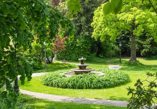 Fontanna w zielonym letnim parku.