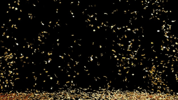 Fontanna złotych konfetti spadających na podłogę na czarnym tle