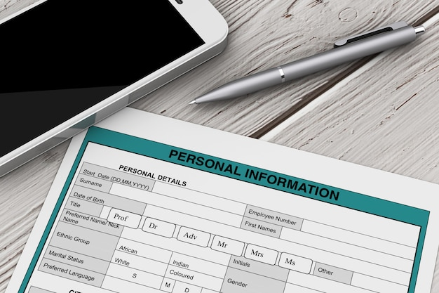 Formularz danych osobowych w pobliżu telefonu komórkowego i ekstremalnego zbliżenie pióra. renderowanie 3d