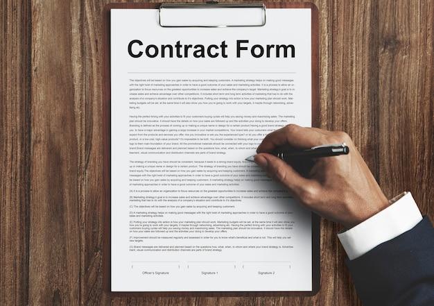Formularz umowy dokument dotyczący obowiązku prawnego koncepcja