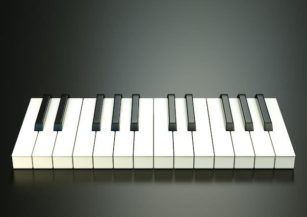 Fortepian pod czarnym tłem. ilustracja 3d. wysokiej jakości renderowanie 3d. grafika 3d