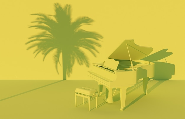 Fortepian w zielonej monochromatycznej scenerii z cieniem palmy na ścianie. renderowania 3d
