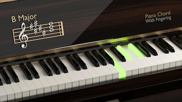Fortepian z akordem b-dur klasyczny fortepian z klawiaturą uczeń szkoły muzycznej na fortepianie