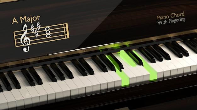 Fortepian z głównym akordem instrument klasyczny wskazówki dotyczące klawiszy fortepianu dla podstawowej szkoły muzycznej na lekcjach