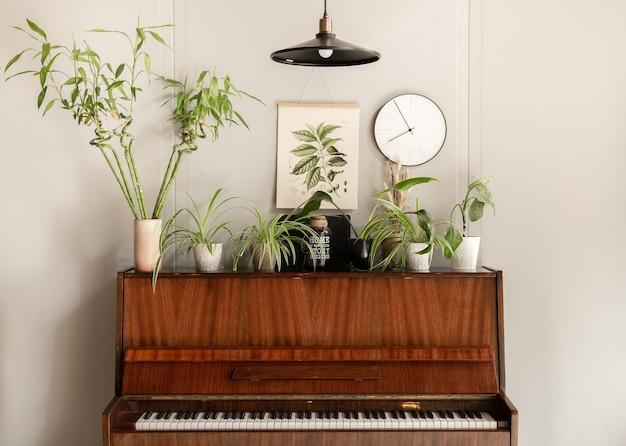 Fortepian z różnymi roślinami w przytulnym wnętrzu pokoju