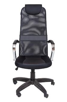 Fotel czarny biuro tkaniny na kołach na białym tle, widok z przodu. nowoczesne meble, wnętrza, projektowanie domu