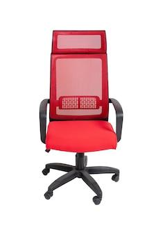 Fotel czerwony biuro tkaniny na kołach na białym tle, widok z przodu. nowoczesne meble, wnętrza, projektowanie domu