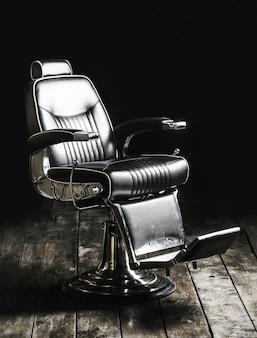 Fotel fryzjerski, nowoczesny salon fryzjersko-fryzjerski, fryzjer męski. broda, brodaty mężczyzna.