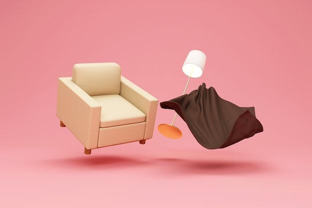 Fotel materiałowy z kocem frotte i lampą pływającą na bakground studio