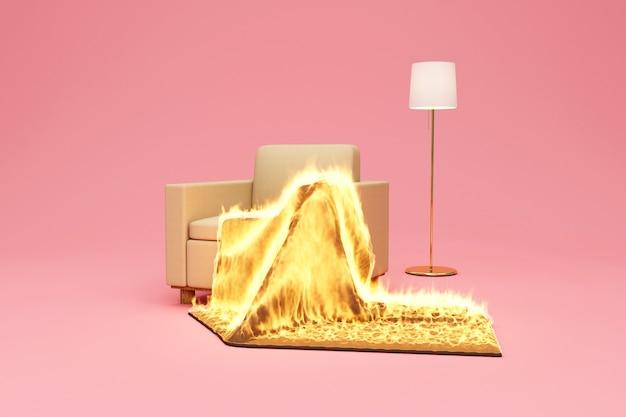 Fotel materiałowy z kocem w płomieniu ognia i lampą na bakground studio