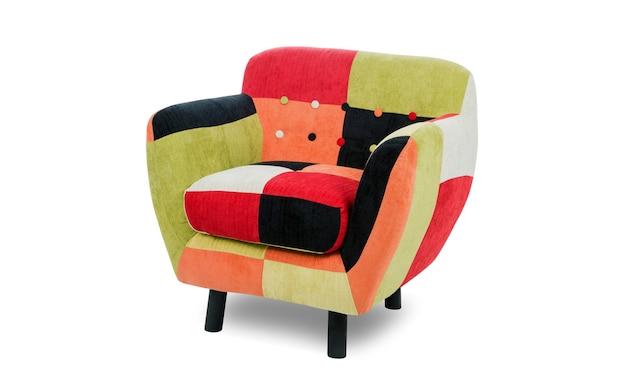 Fotel patchwork kolorowy na białym tle na białym tle w tle