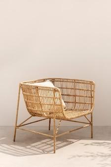 Fotel rattanowy z poduszką minimalistyczny wystrój domu