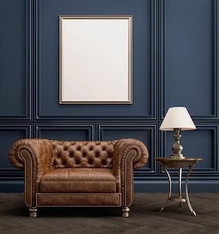Fotel w stylu klasycznym z pustą ramą na zdjęcia