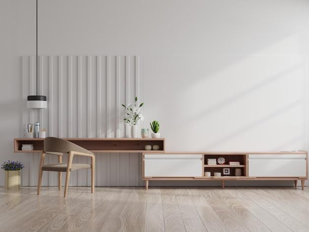 Fotel wnętrza nowoczesnego salonu, telewizor na szafce w nowoczesnym salonie.