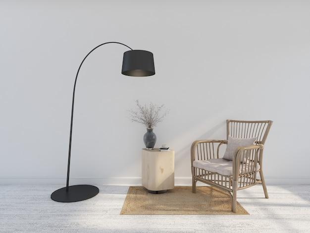 Fotel z drewna z lampą podłogową. renderowanie 3d