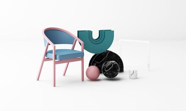 Fotel z geometrycznym kształtem z marmurową teksturą renderowania 3d