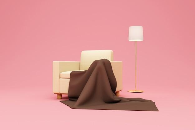 Fotel z kocem frotte i lampką na bakground pink studio