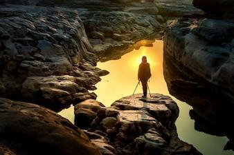 Fotograf i wschód słońca