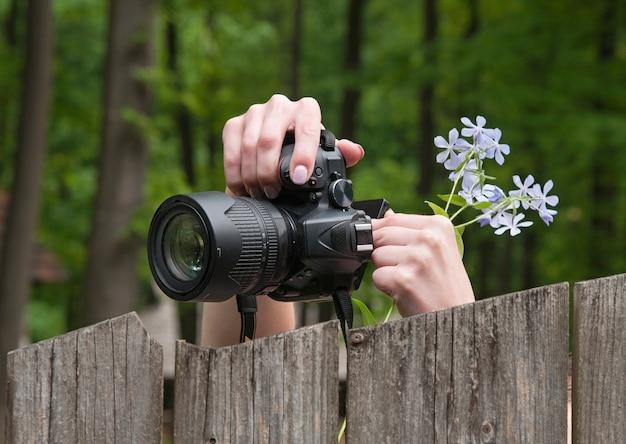 Fotograf robi zdjęcia przyrody. zielony las. lustrzanka i ręce z kwiatami. selektywna ostrość.