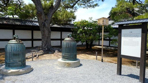 Fotografia do wiszących dzwonów zamku nijo w kioto japonia japońska historia kulturowe relikty