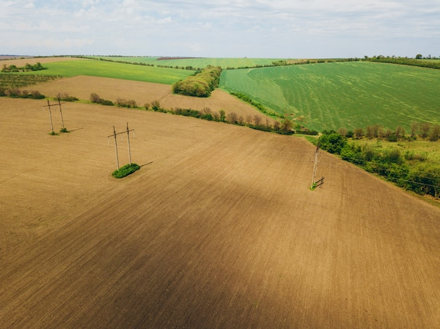 Fotografia dronów ziemi uprawnej zbóż w okresie wiosennym