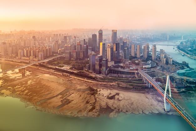 Fotografia lotnicza chongqing panoramę architektury miasta