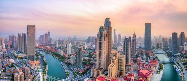 Fotografia Lotnicza Panoramy Krajobrazu Miasta Tianjin Premium Zdjęcia