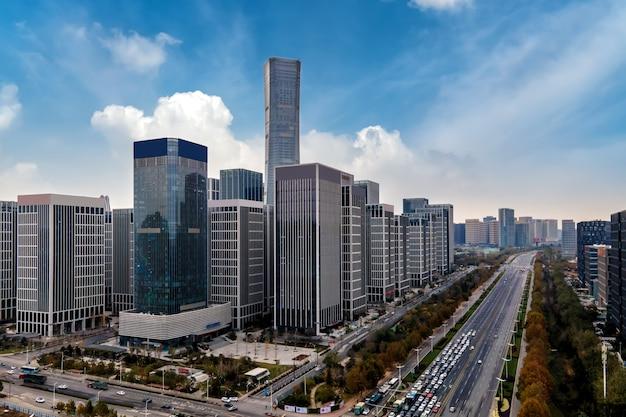 Fotografia lotnicza współczesnego miejskiego krajobrazu architektonicznego jinan w chinach