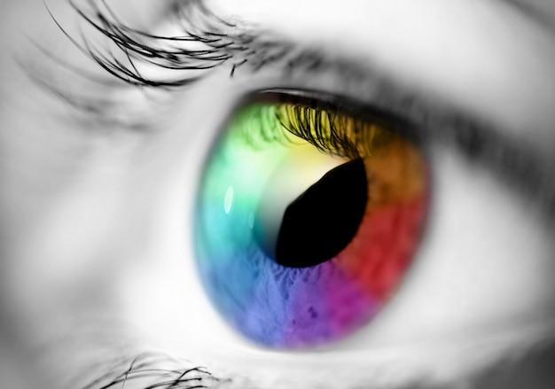 Fotografia makro kolorowych źrenic