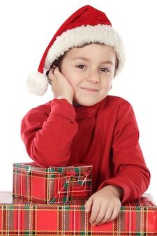 Fotografia urocza chłopiec w bożych narodzeniach