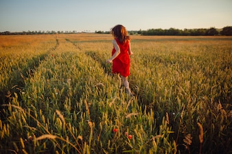 Fotografia wspaniała dama w czerwieni sukni pozyci w złotym lata polu