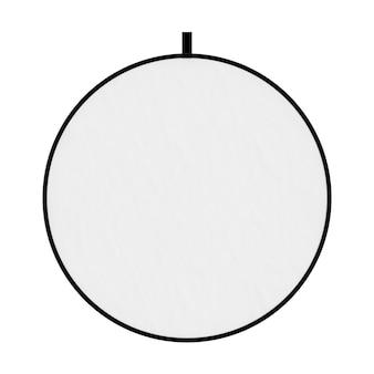 Fotograficzny biały ekran dyfuzora światła dysku na białym tle. renderowanie 3d