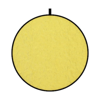 Fotograficzny złoty dysk reflektor dyfuzor ekranu na białym tle. renderowanie 3d