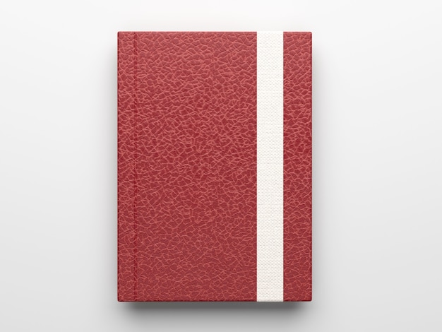 Fotorealistyczna bordowa skórzana makieta notatnika na białym tle na jasnoszarej powierzchni, renderowanie 3d